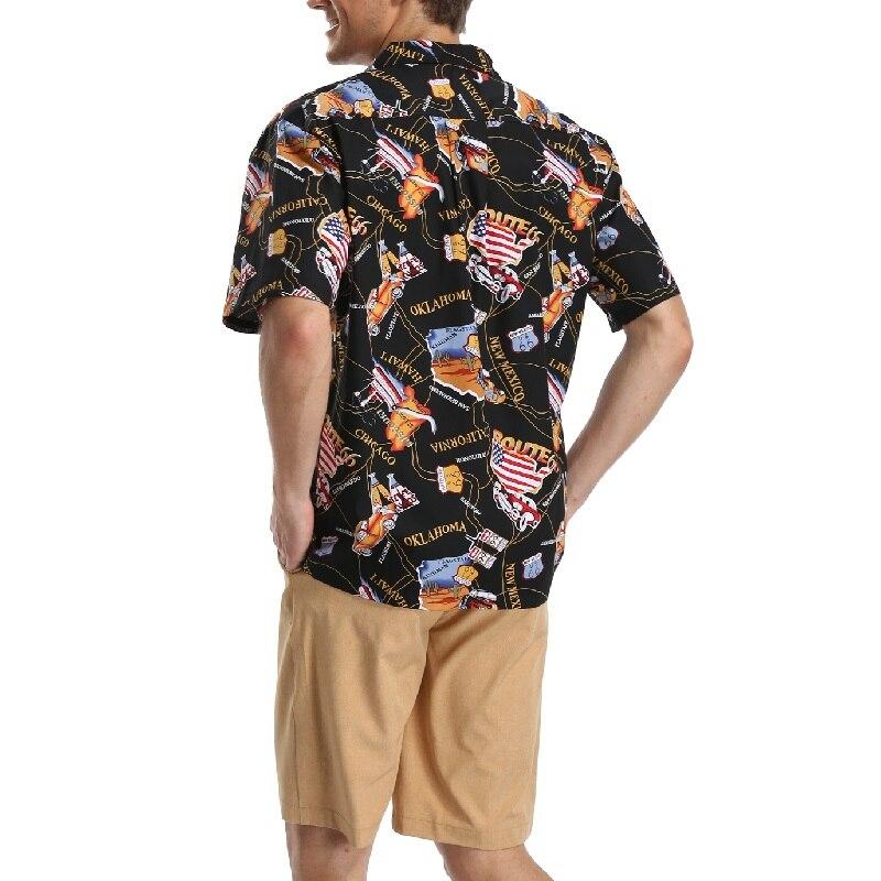 b2ec50d20 Camisa Aloha Havaiano Com Bolso 100% Algodão dos homens Camisa Impressão Da  Bandeira Americana Praia Totem Camisa de Manga Curta em Camisas casuais de  Dos ...