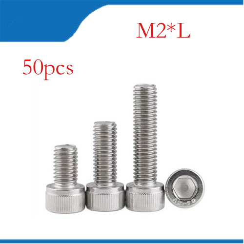 50Pcs M2*L Stainless Steel M2 Screws Allen Hex Socket Head Screw Bolt Furniture Fastener M2 bolts,M2 nails 50pcs lots carbon steel screws black m2 bolts hex socket pan head cap machine screws wood box screws allen bolts m2x8mm