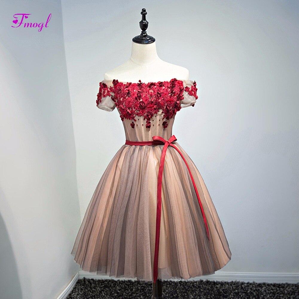 Fmogl Romantic Scoop Neck Appliques Short Sleeve Homecoming Dresses 2018 Delicate Beaded Party Gown Graduation Dress Hot Sale