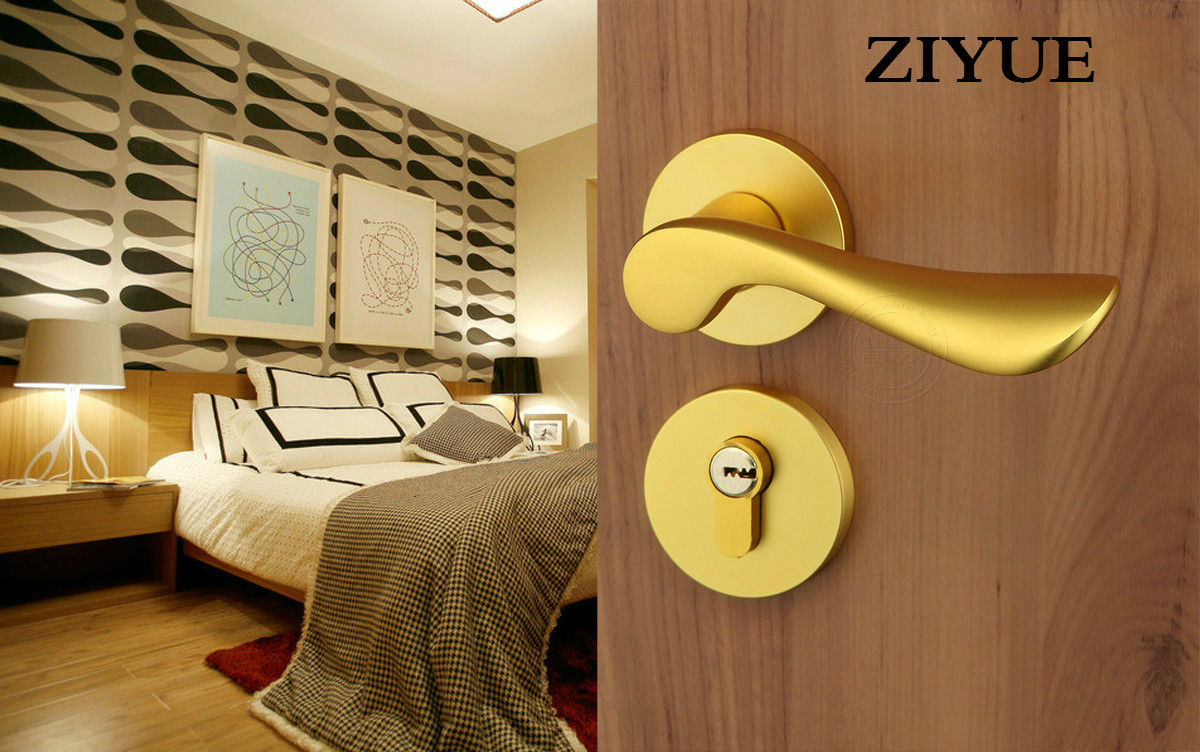 Free Shipping Gold Color Space Aluminum Door Handle Bearing Mute Home Room Furnishing Lock