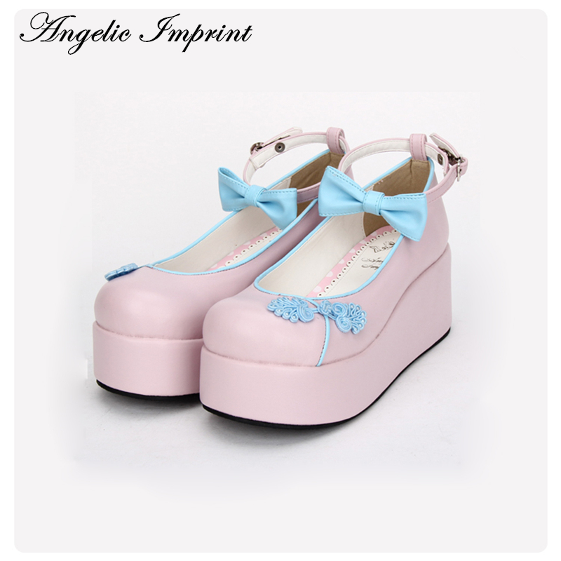 Custom Made Chinese Style Platform Heel Lolita Cosplay Shoes Sweet Bowtie Girls Ankle Strap Shoes ballu aw 320 black