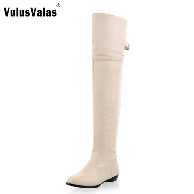 f9c3417fad7f Size 34-45 Women Flat Over Knee Boots Ladies Fashion Long Snow Boot Warm  Winter Brand Botas Footwear Shoes P9460