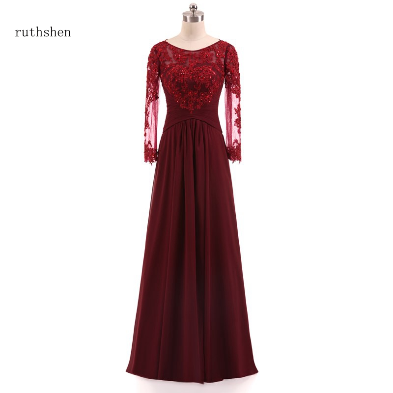 ruthshen New Fashion A line Long Sleeves Lace Chiffon Mother of the Bride Dress Pleat Evening