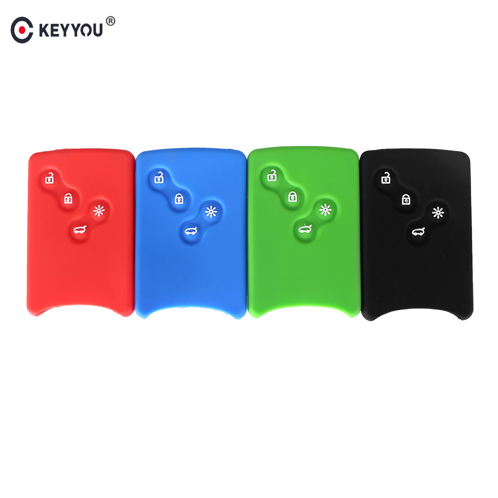 KEYYOU 4 Button Silicone Cover For Renault Clio Logan Megane 2 3 Koleos Scenic Car key Rubber Protector Keychain Card key Case jingyuqin 3 buttons remote silicone rubber car key case cover for renault megane r s scenic 3 button card key smart key