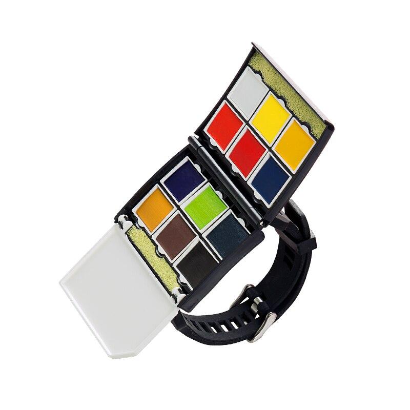 Peinture aquarelle solide de style montre 12 couleurs 24 couleurs mini-emballage peinture étudiants débutants avec des fournitures d'art portables