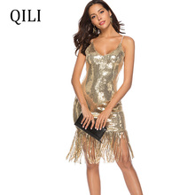 QILI Women Sequin Tassel Dress Sexy V Neck Spaghetti Strap Flash Sequined Sleeveless Dresses Black Silver Gold Champagne