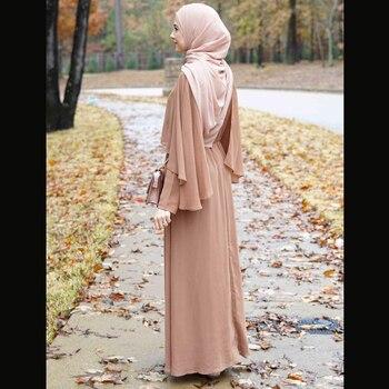 Kimono Linen Maxi Muslim Shawl Hijab Dress For Women