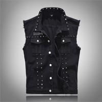 Men's Denim Vest Classic Design Rivet Sleeveless Jackets Casual Male Waistcoat Black Cowboy Vests Plus Size M 5XL