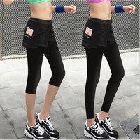 Commerci all'ingrosso Qs43p Donne Fitness Femminile Falso in Due Gonna Leggings Quick Dry Pantaloni Sottili Slim