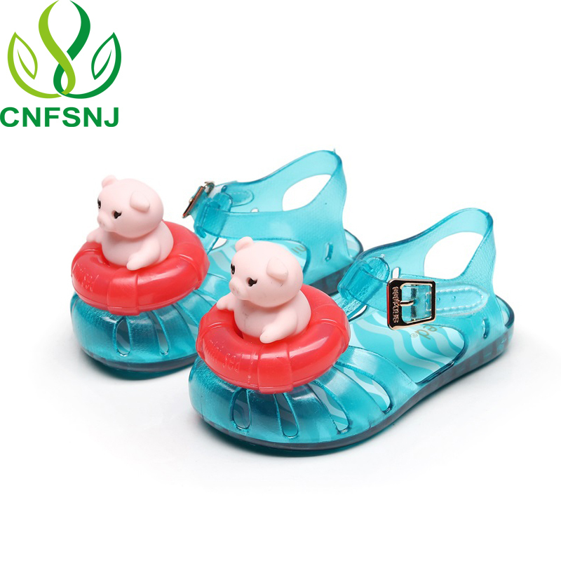 CNFSNJ 2018 New spring summer Mini Jelly Sandals pig Swimming laps Shoes  Lovely Soft Princess Unicorns Shoes 12.8 17.8cm-in Sandals from Mother    Kids on ... fe70c78f8521