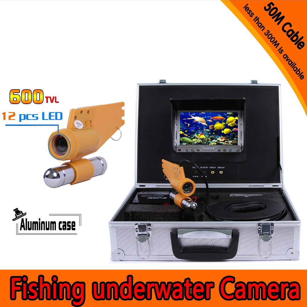 (1 set)  50M Cable Underwater Fishing Camera CCTV System Waterproof 7 Inch TFT-LCD Color Screen Display IR 12 LEDS Fish finder 1 set 50m cable 360 degree rotative camera with 7inch tft lcd display and hd 1000 tvl line underwater fishing camera system