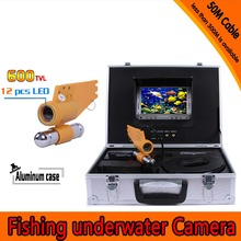 (1 set)  50M Cable Underwater Fishing Camera CCTV System Waterproof 7 Inch TFT-LCD Color Screen Display IR 12 LEDS Fish finder