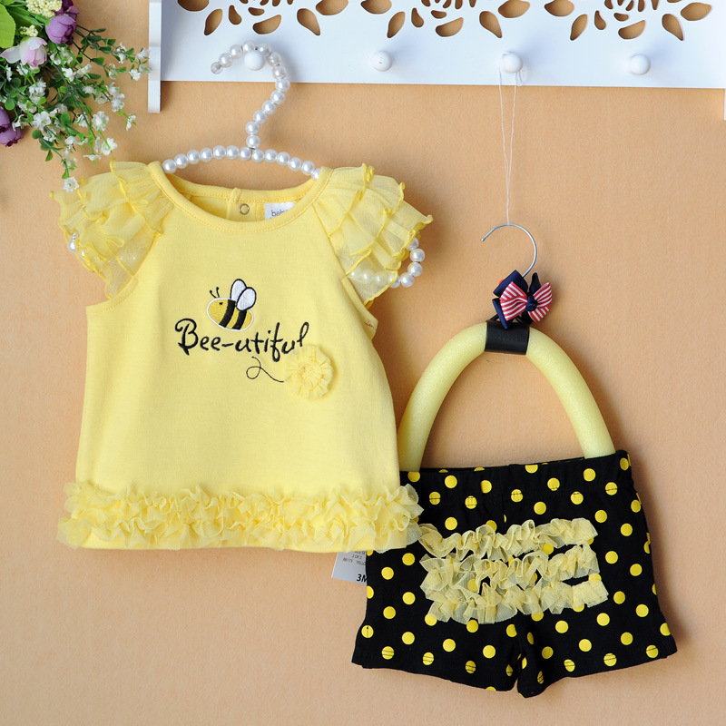 Retail-Summer newborn baby clothing sets lace bees baby girl clothes 2pcs/set kids T-shirt+pants yellow 3-9M retail 2016 summer new arrival girls clothing set shirt shorts 2 pcs set girl clothes kids suits 2
