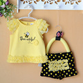 Retail-Summer newborn baby clothing sets lace bees baby girl clothes 2pcs/set kids T-shirt+pants yellow 3-9M