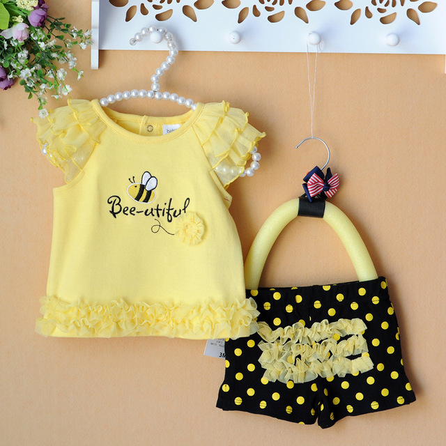 Retail Summer Newborn Baby Clothing Sets Lace Bees Baby Girl Clothes