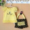Venta al por menor-bebé recién nacido ropa de Verano establece encaje abejas baby girl clothes 2 unids/set niños t-shirt + pants amarillo 3-9 M