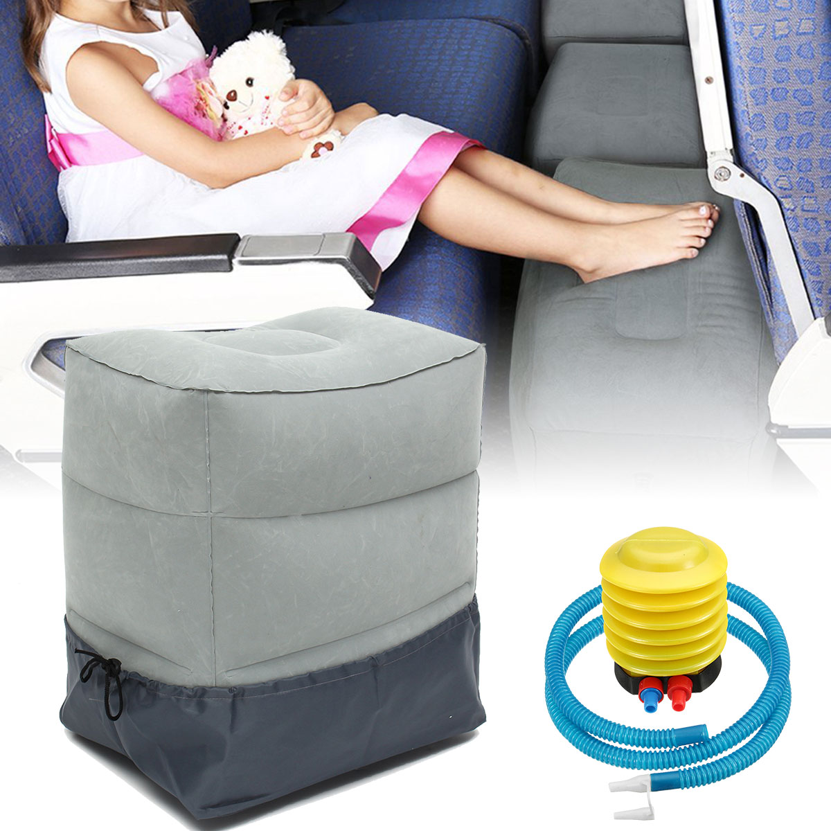 2Pcs Travel Pillow for Kids Baby Inflatable Footrest Travel Bed for Airplane