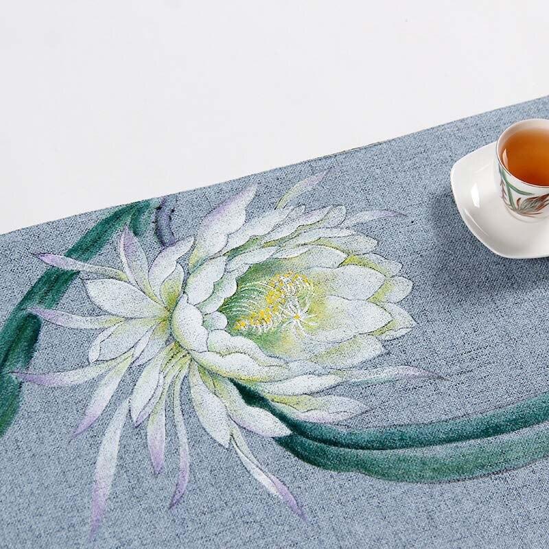 Zen chinois lin peint à la main fleurs chemin de Table tapis de thé décor à la maison caboteur tasse à café tapis ZQ-06