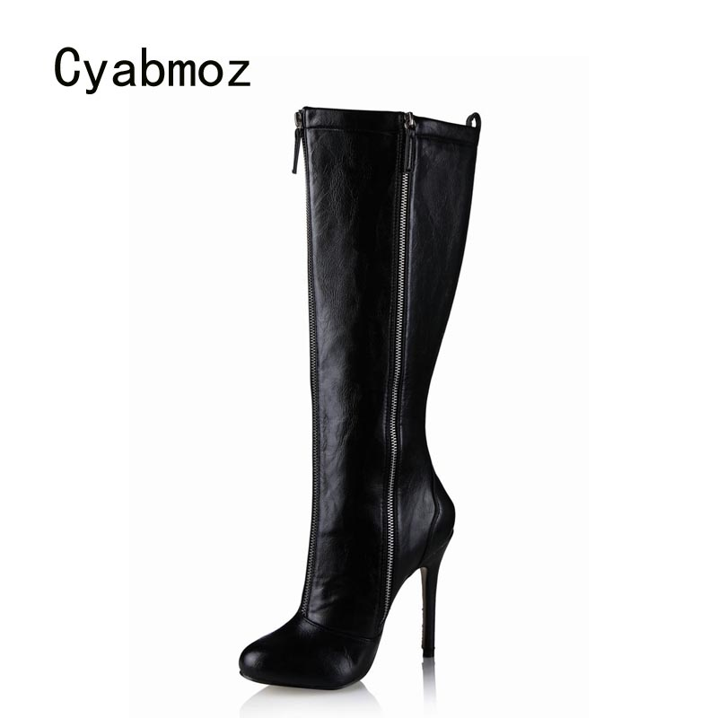 Cyabmoz Women Shoes Woman Knee High Heels Winter Boots New Zip Ladies Party Dress Shoes Zapatillas Botas Zapatos Mujer Plus Size 2018 winter thigh high boots women faux suede leather high heels over the knee botas mujer plus size shoes woman 34 43