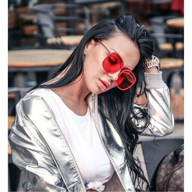 8ec3f6698c1 2018 New Oversized Round Sunglasses Ms. Brand Large Frame Red Lens Sunglasses  Women s Glasses Women