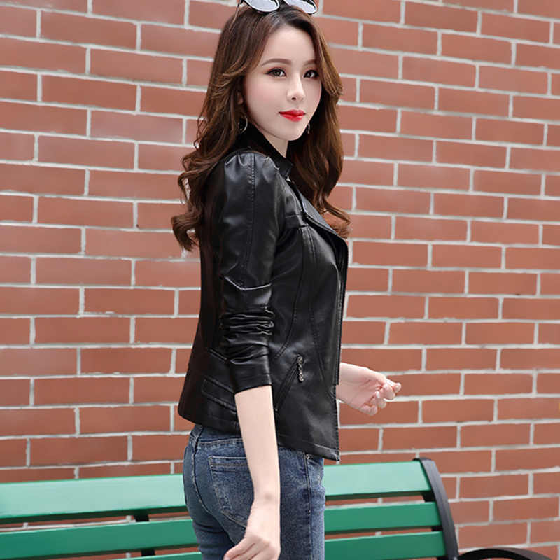 Plus size S-6XL Fashion Autumn Winter Leather Women Coat PU Motorcycle Biker Jacket Short Slim Leather Jacket Women Clothing 876
