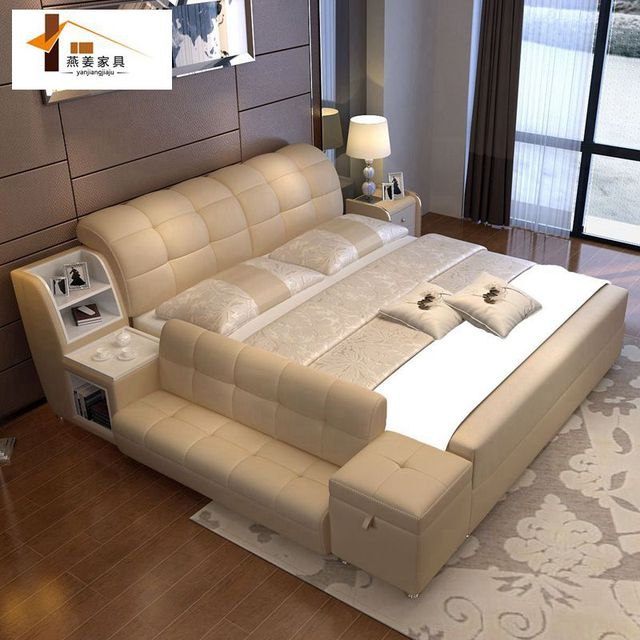 Bedroom Furniture China Leather Bed Tatami Minimalist Modern Double Width Includes 1 5 Meters 8