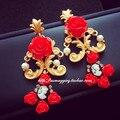 Corea del sur barroco palacio Vintage exagerada flor gota pendientes largos joyería moda mujer venta al por mayor