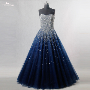 Image 1 - RSE197 Yiaibridal Elegant Bling Bling Silver Beading Readt To Ship Stock Dress Long Royal Blue Prom Dress