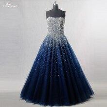 RSE197 Yiaibridal Zarif Bling Bling Gümüş Boncuk Readt Gemi Stok Elbise Uzun Kraliyet Mavi Balo Elbise