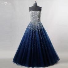 RSE197 Yiaibridal elegancki Bling Bling srebrny frezowanie Readt, aby wysłać magazynie sukienka długi królewska niebieska sukienka balowa