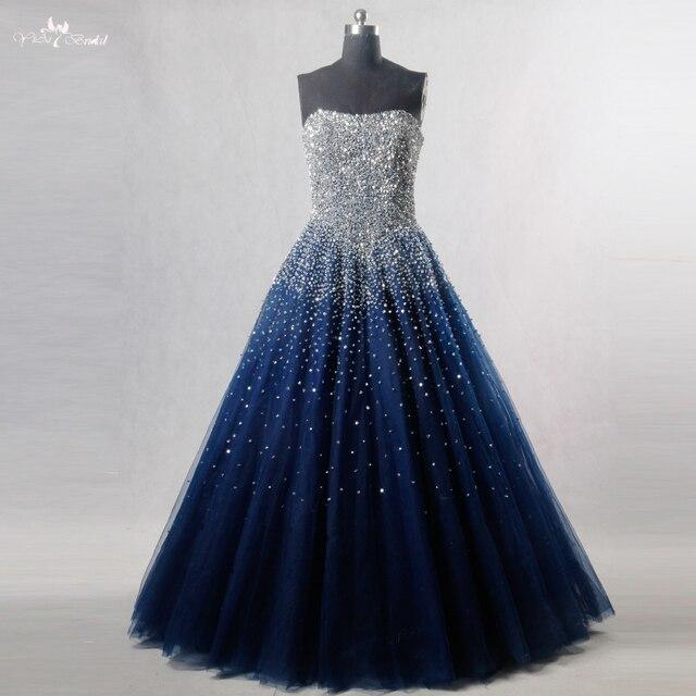 RSE197 Yiaibridal elegante Bling adorno con cuentas de plata Read To Ship vestido en existencias largo azul real vestido de Graduación