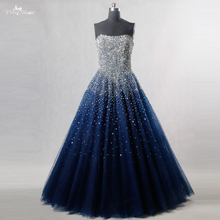 RSE197 yiaibridal أنيقة بلينغ بلينغ الفضة الديكور readt للسفينة الأسهم فستان طويل الملكي الأزرق فستان السهرة