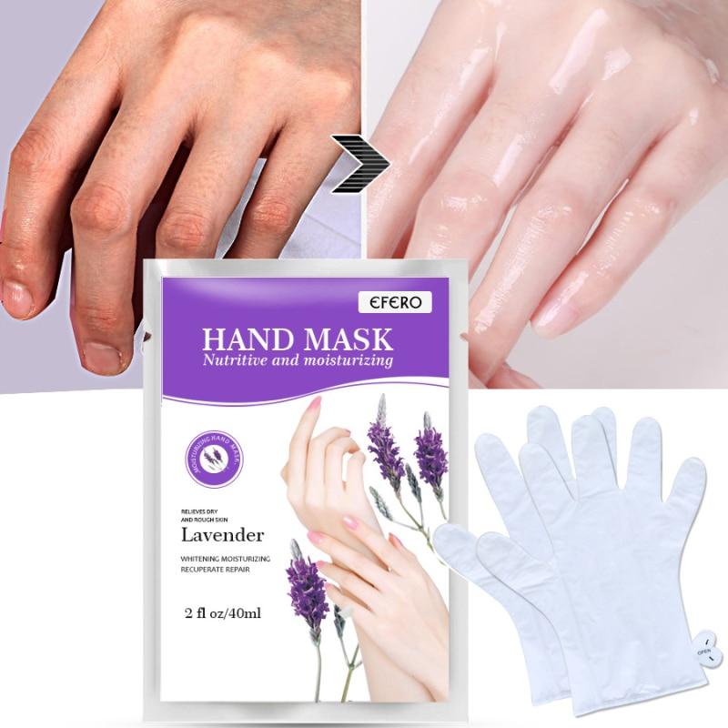 2pcs/1pair Lavender Baby Hand Mask Cream Moisturizing Whitening Hand Spa Gloves Dead Skin Remover Hand Spa Skin Care TSLM1