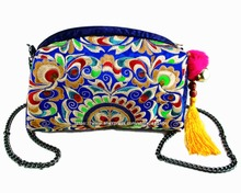 Vintage PU Leather Hmong Tribal Ethnic Thai Indian Boho shoulder bag messenger bag embroidery pom trim SYS-533