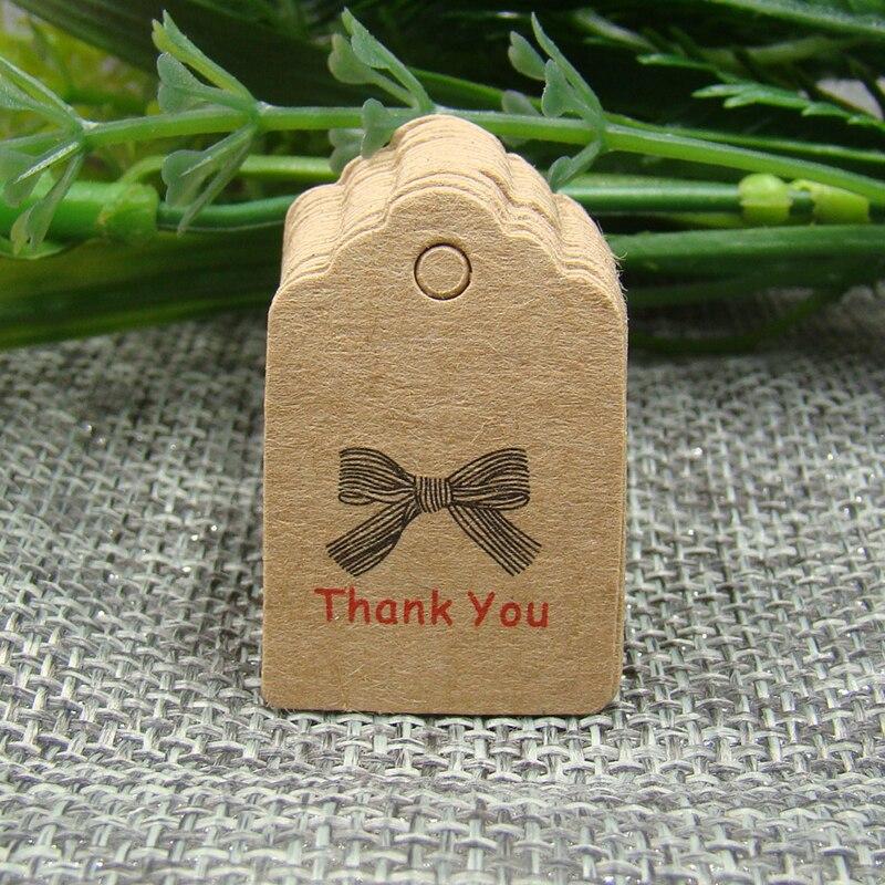 Оптовая продажа подарок спасибо тег с лентой 100 шт. в партии 3*2 см бумаги karft продукты метка для пользу пакет