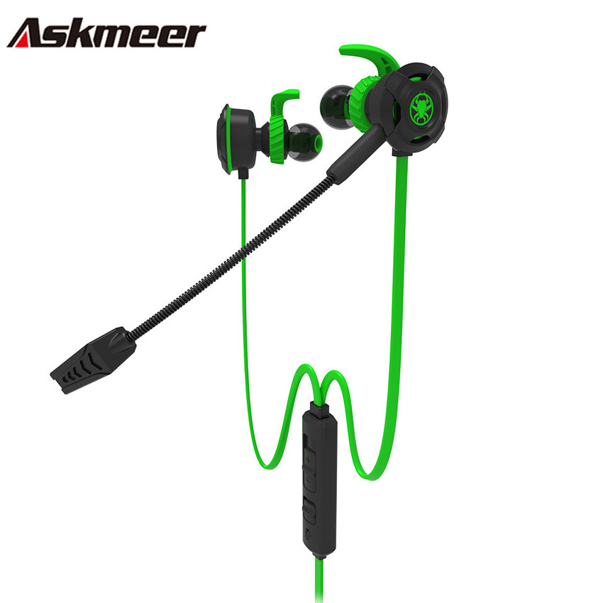 Askmeer In Ear Gaming Earphones Best Stereo Sports Headset casque with Microphone Mic for Mobile Phone PS4 New Xbox One PC Gamer ufo pro metal in ear earphones treadmill female drug sing karaoke audio headset diy mobile phone