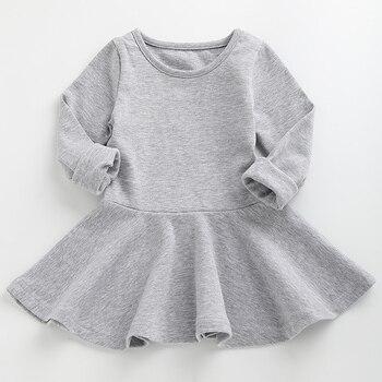 e50d24cbe1a весна 2018 нарядные платья для девочек с длинным рукавом вязаный хлопок  одежда нарядное платье для девочки О-образным вырезом детские платья .