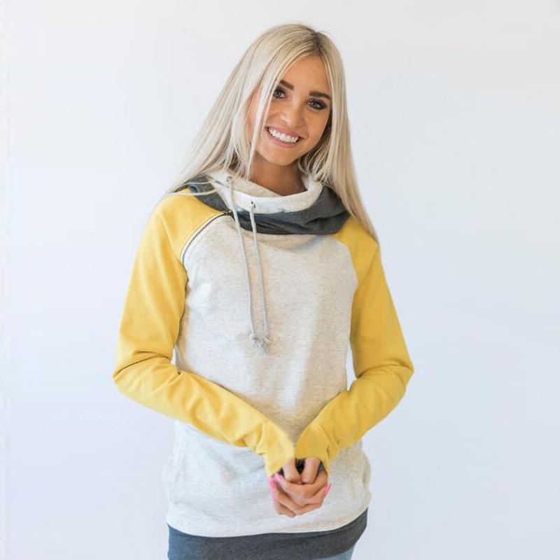 elsvios 2017 double hood hoodies sweatshirt women autumn long sleeve side zipper hooded casual patchwork hoodies pullover femme ELSVIOS 2017  hoodies, Autumn Long Sleeve HTB15qXHaWmgSKJjSspiq6xyJFXaO
