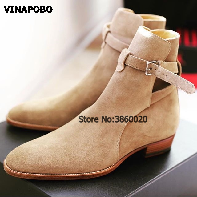 VINAPOBO 2018 suede leather men booties buckle strap Chelsea Boots slip on Ankle Boots Men s