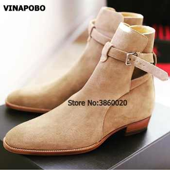 VINAPOBO 2018 suede leather men booties buckle strap Chelsea Boots slip on Ankle Boots Men's Fashion med Autumn motorcycle Boots - DISCOUNT ITEM  40% OFF All Category