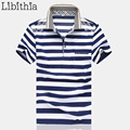 Men Polo Shirts Cotton Brand New Summer Mens Striped Homme Plus Size 4XL 5XL Breathable Dress Blouse Classic Blue Red S020