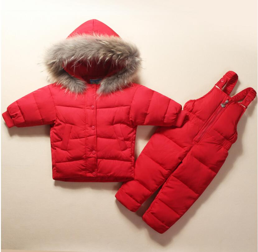 Top Quality Baby Children Clothing Girls Down Snow Wear Sets Boys Parka Jackets 90% White Duck Down Coats Size 80-100 цены онлайн