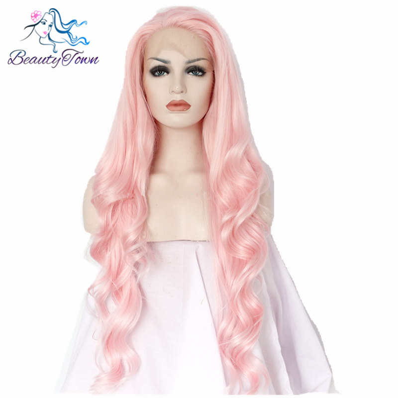 BeautyTown Pink Color Glueless Heat Resistant Hair Body Wave Hand Tied Cosplay Perruque Synthetic Lace Front