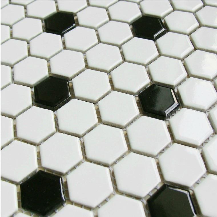 classic <font><b>white</b></font> mixed black hexagon ceramic <font><b>mosaic</b></font> <font><b>tiles</b></font> kitchen backsplash wall bathroom wall <font><b>and</b></font> floor <font><b>tiles</b></font>