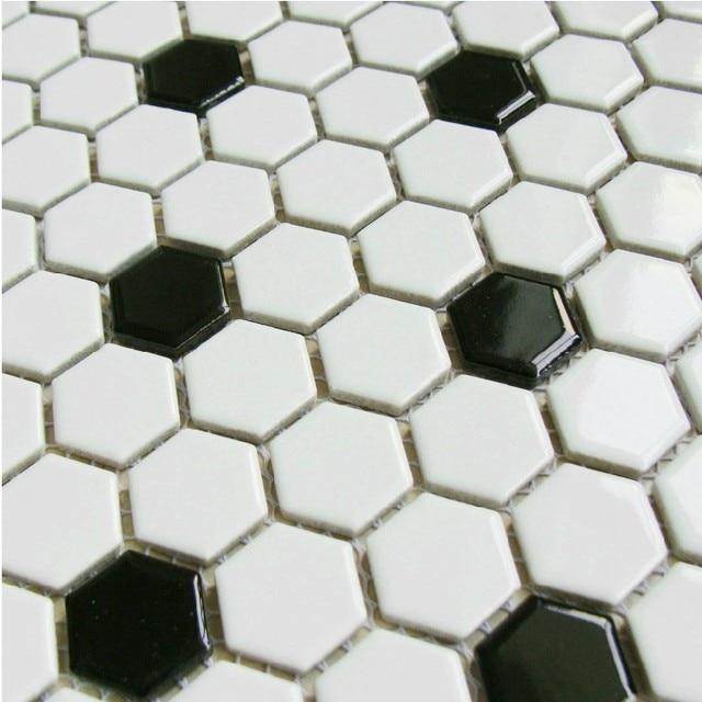 Classic White Mixed Black Hexagon Ceramic Mosaic Tiles Kitchen