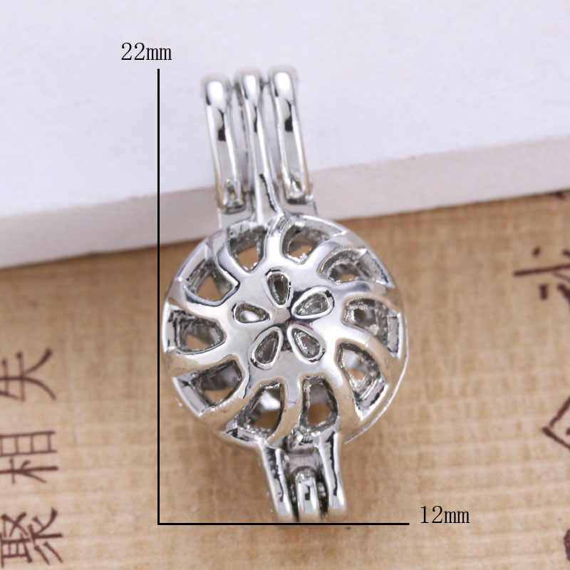 6pcs Bright Silver ดอกไม้ Pearl Cage เครื่องประดับทำอุปกรณ์ลูกปัดจี้น้ำมันหอมระเหย Diffuser สำหรับ Oyster Pearl 030114