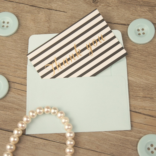 25pcs Mini Black Line Gold Thank You Card With Blue Envelope Multi