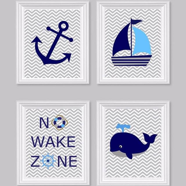 Nautical Nursery Prints No Wake Zone Sailboat Whale Anchor Ocean
