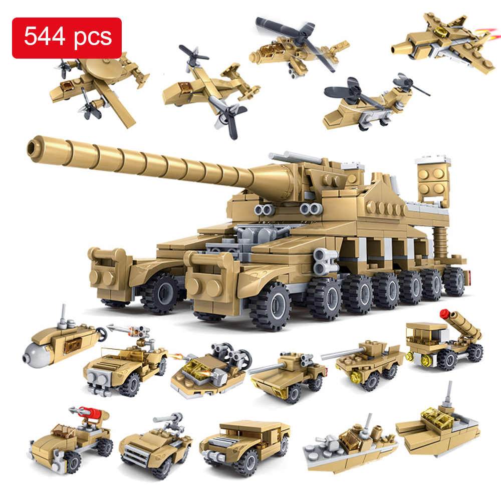 544PCS Building Blocks Military Toy Vehicle 16 Assembled 1 Super Tank Army Toys Children Hobby Compatible with Legoed qunlong military 8in1 829pcs 8 figures building blocks compatible legoed tank warship army war toys for children constructor set