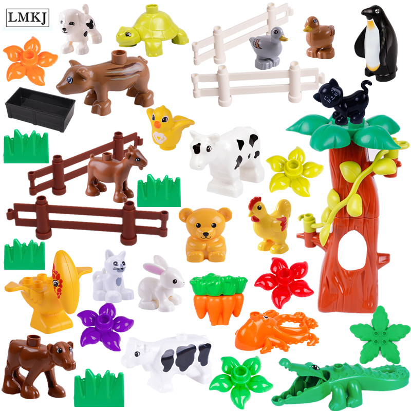 Big Size Duploe Animals Series Model Figures Building Blocks Animals Educational Duploed Toys For Children Gifts